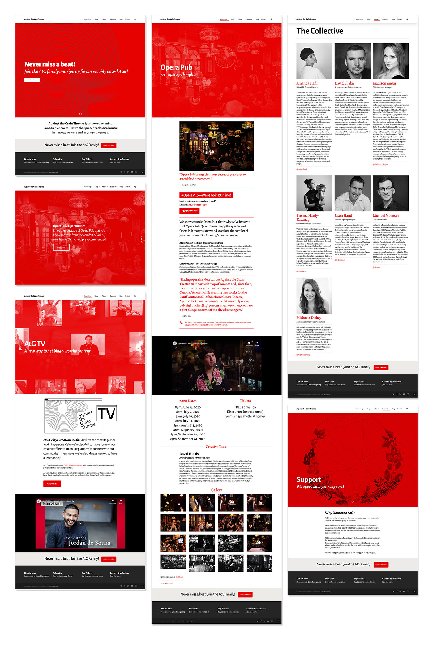 Thumbnail images of web pages from the Against the Grain Theatre website