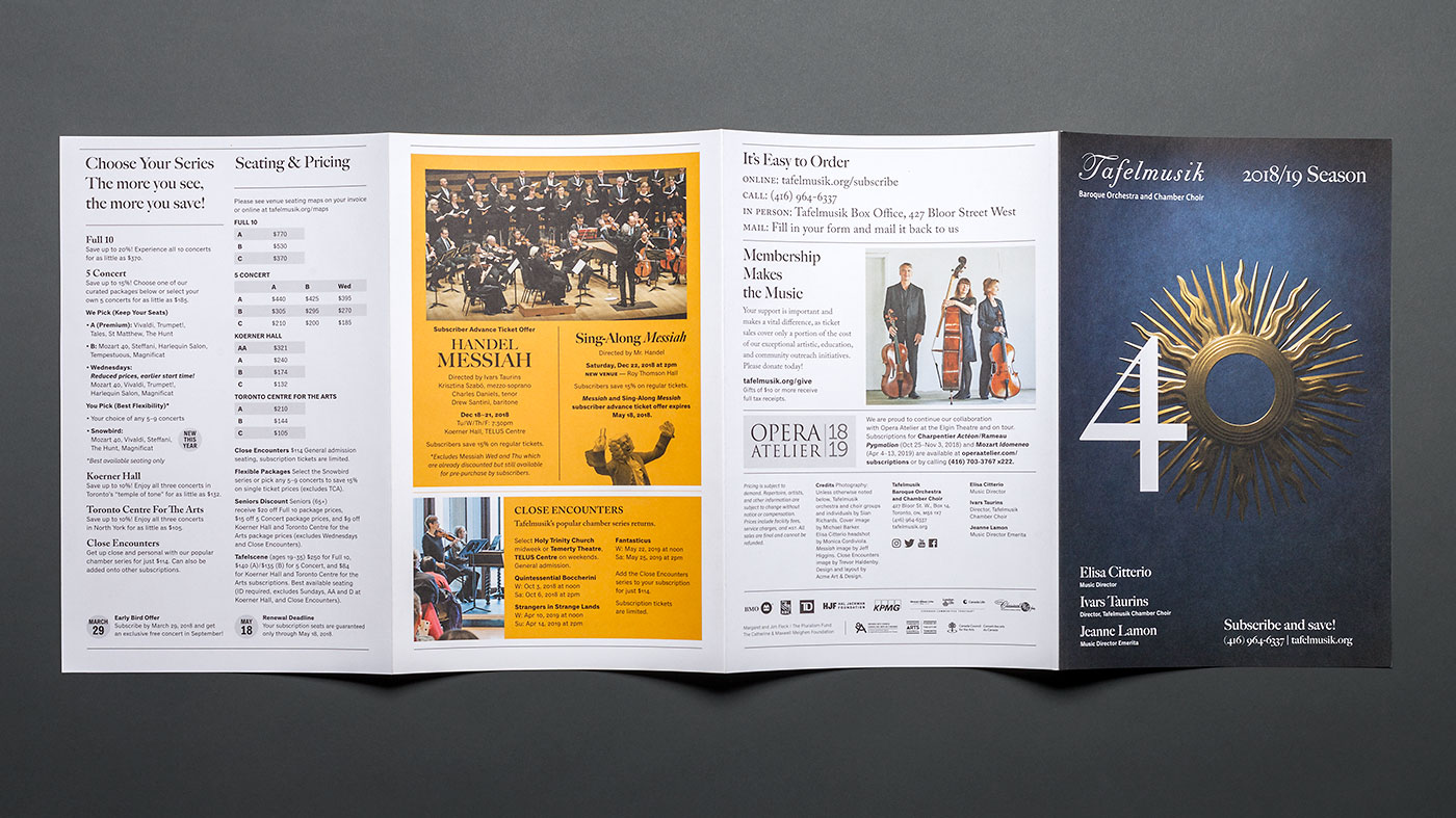 Tafelmusik 2018-19 Subscription renewal brochure