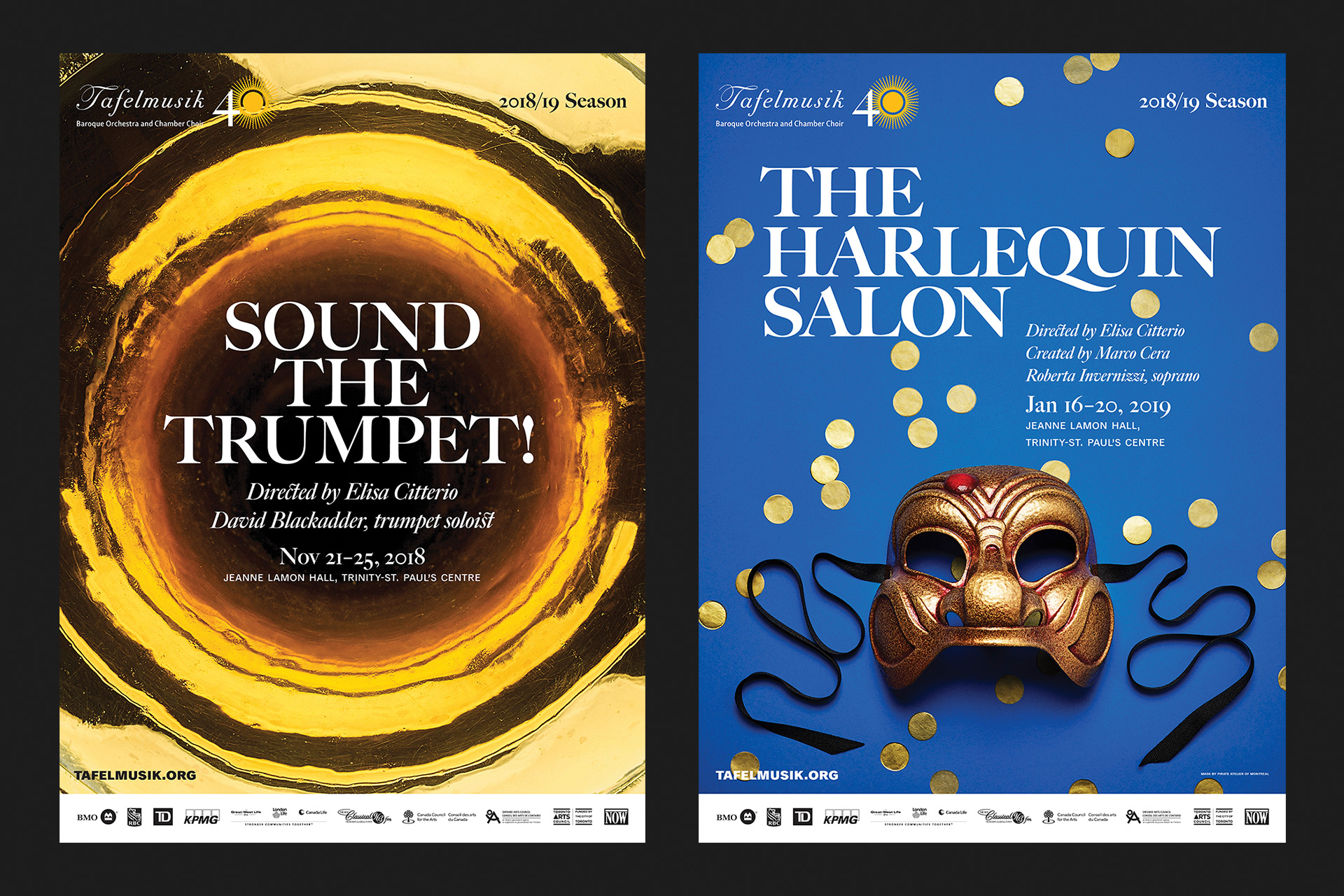 Sound the Trumpet! and The Harlequin Salon posters