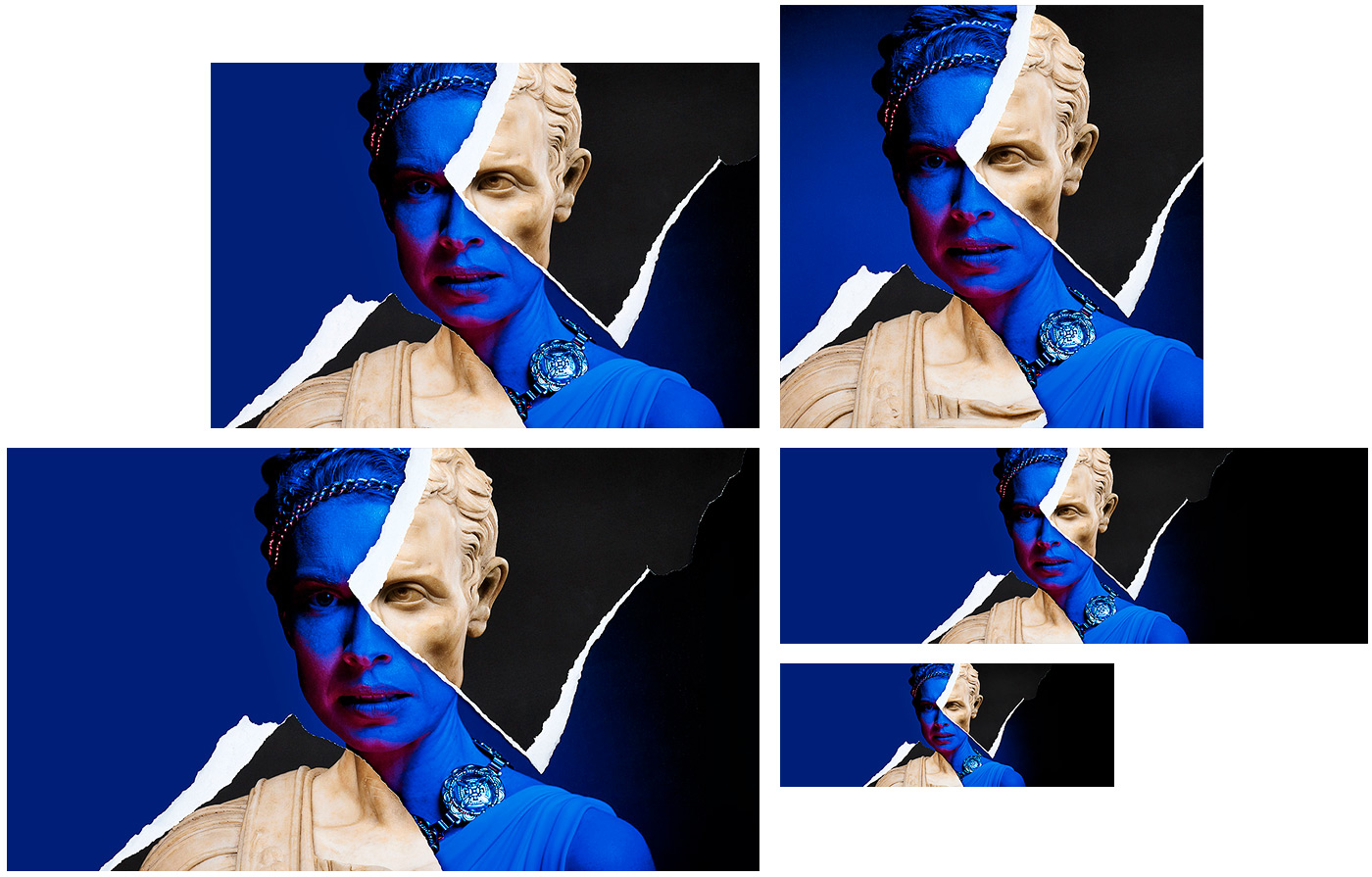 A collection of graphic assets for Portia's Julius Caesar's social media marketing campaign