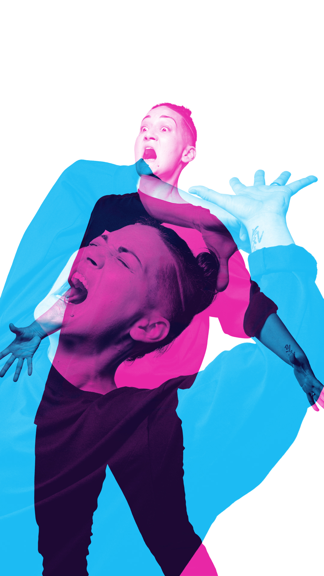 Two figures in dramatic poses, one blue, one magenta, are superimposed