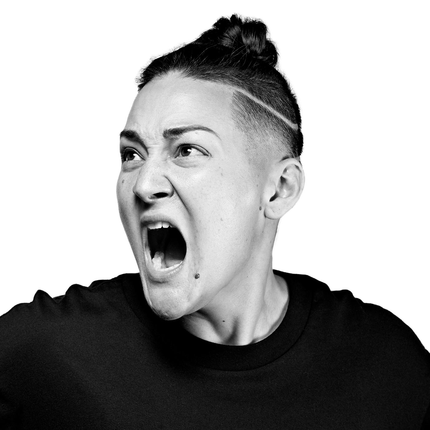 Teiya Kasahara strikes a theatrical pose in this black and white image