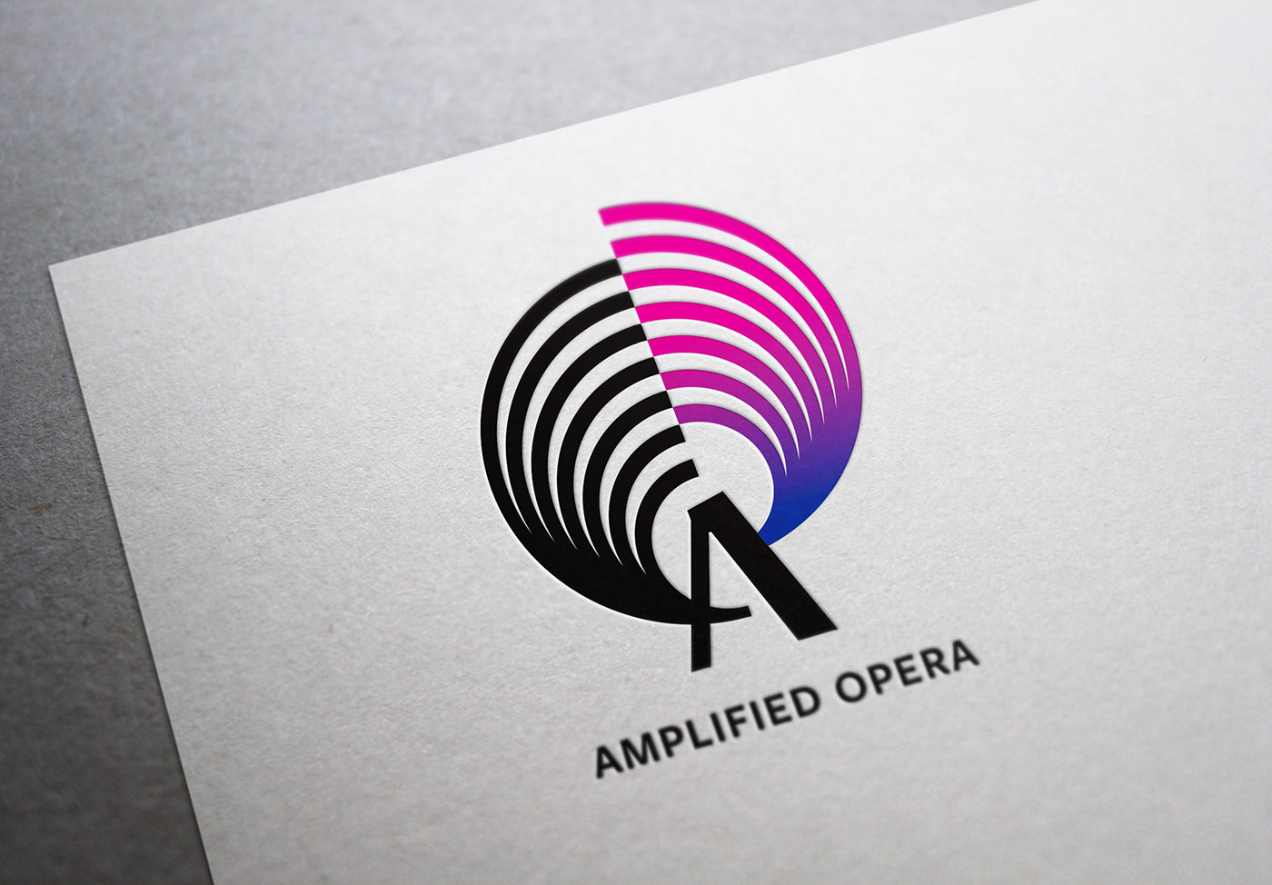 Logo for Amplified Opera printed on a sheet of white paper