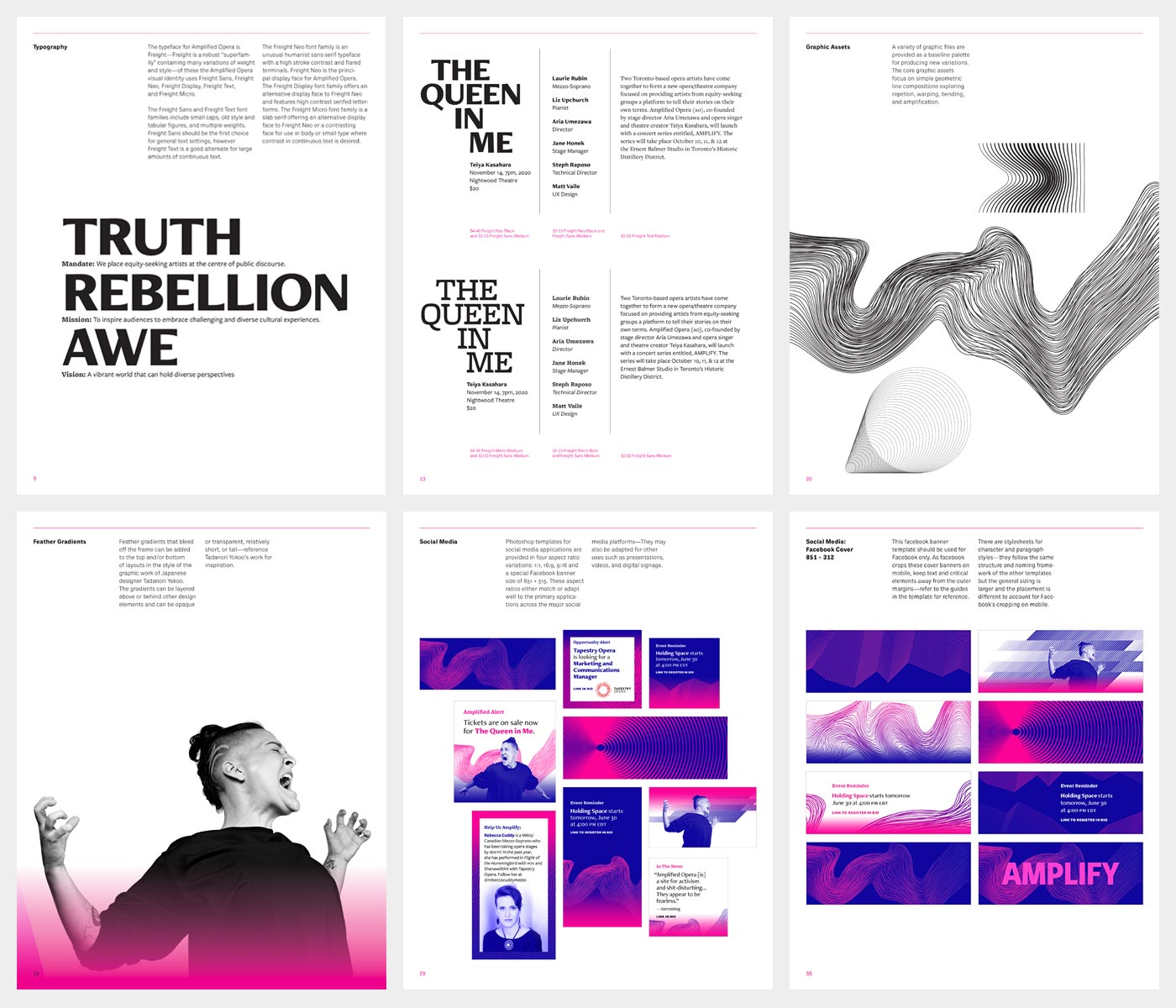 Pages from Amplified Opera visual identity manual