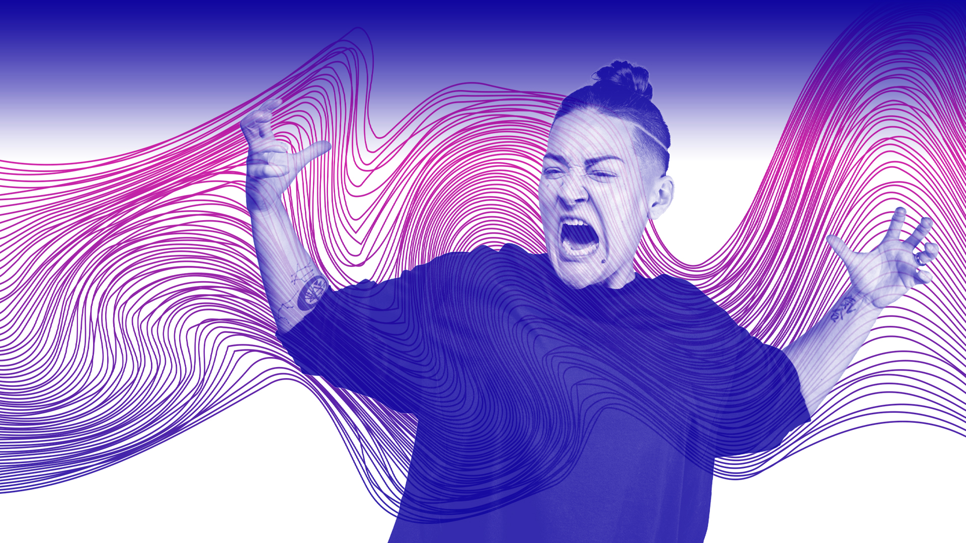 Decorative image of yelling figure on background of wavy lines
