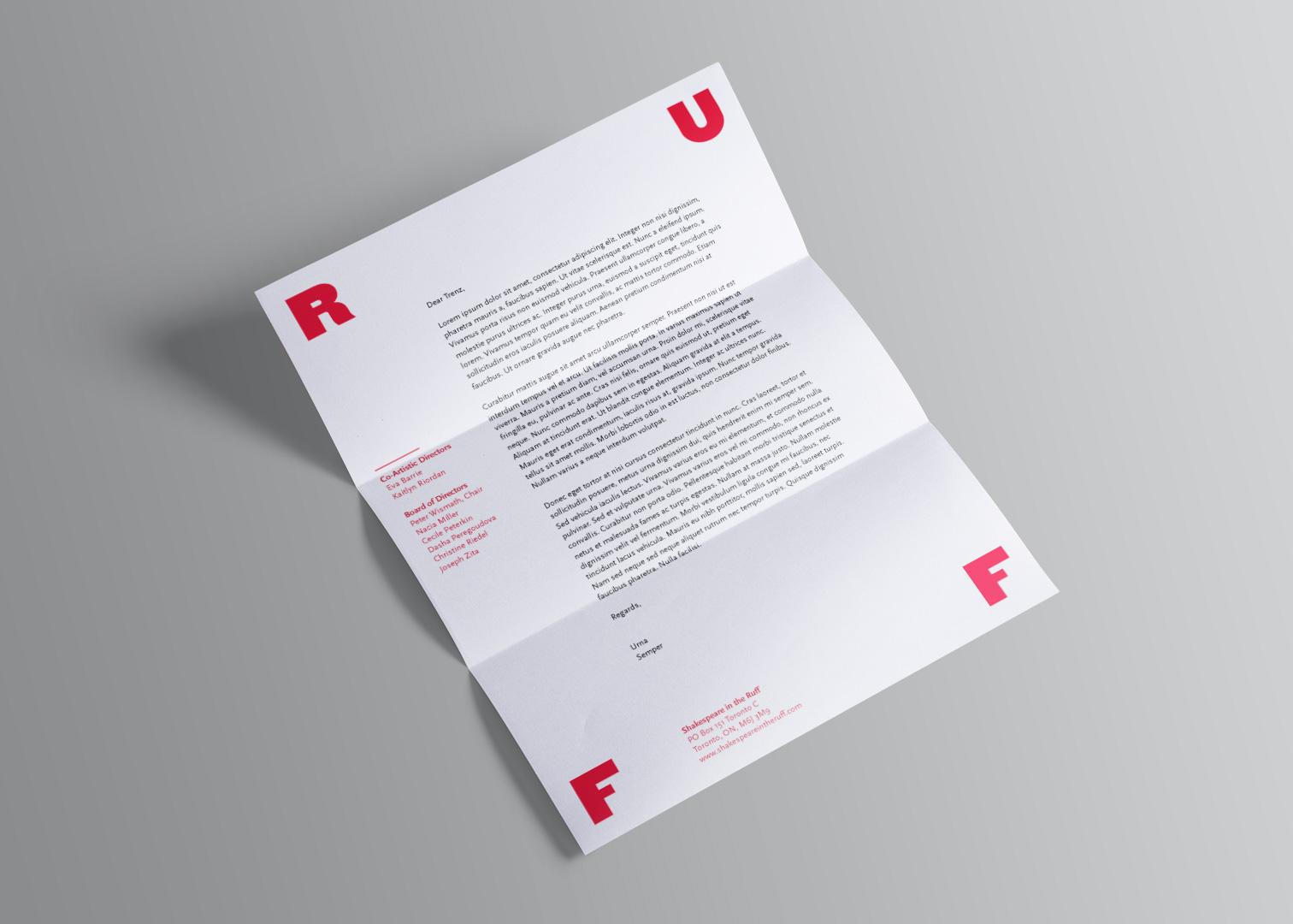 Shakespeare in the Ruff letterhead