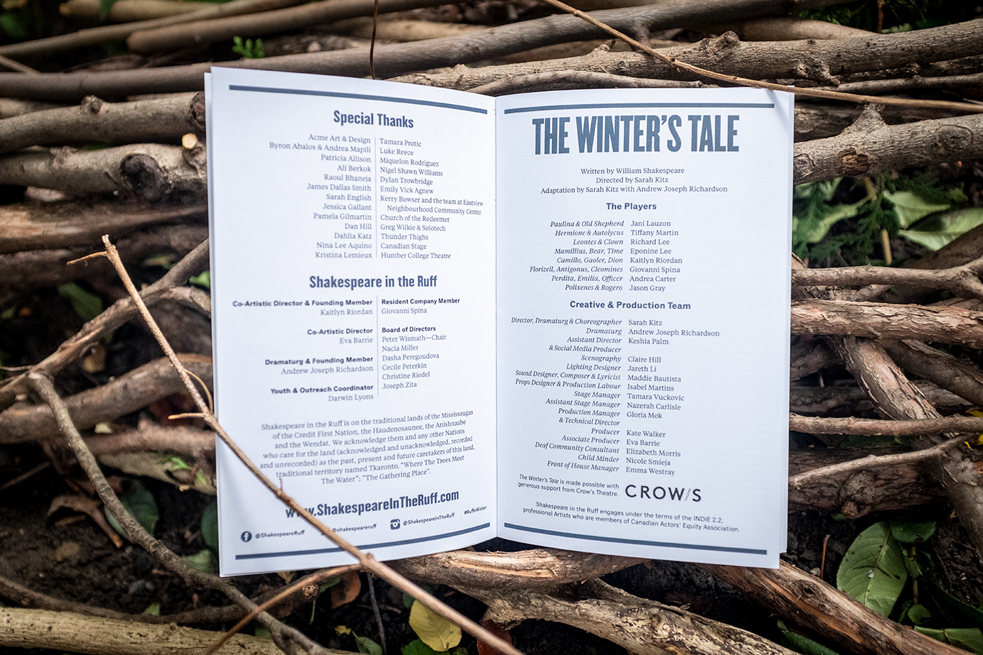 The program for the Winter's Tale lies open on a pile of branches