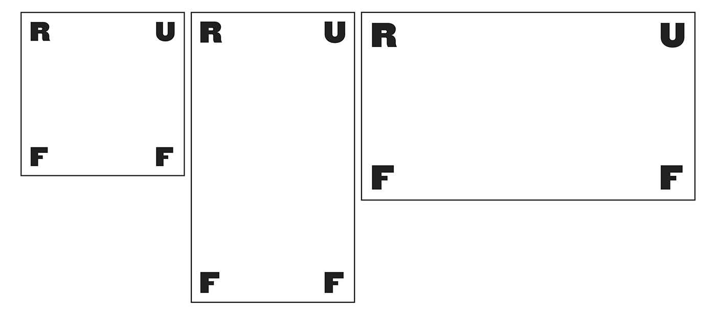 """Three boxes in different aspect ratios with the four letters of """"ruff"""" in the four corners of each rectangle."""