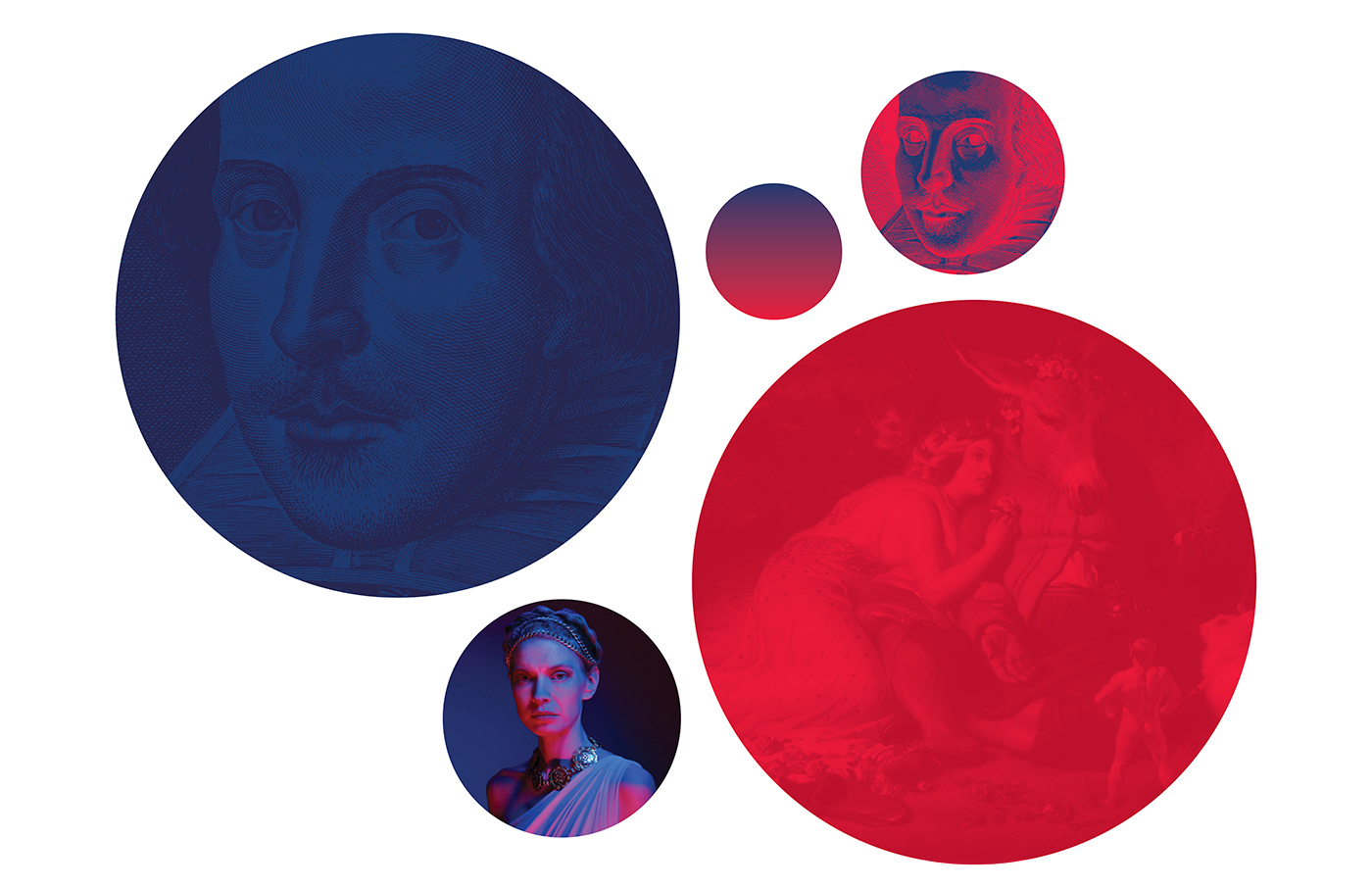 Diagram of the Shakespeare in the Ruff colour palette — blue and red