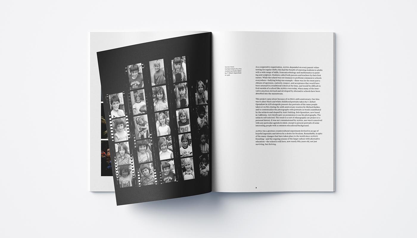 Interior spread of the book Alpha Alternative School 1972/2012