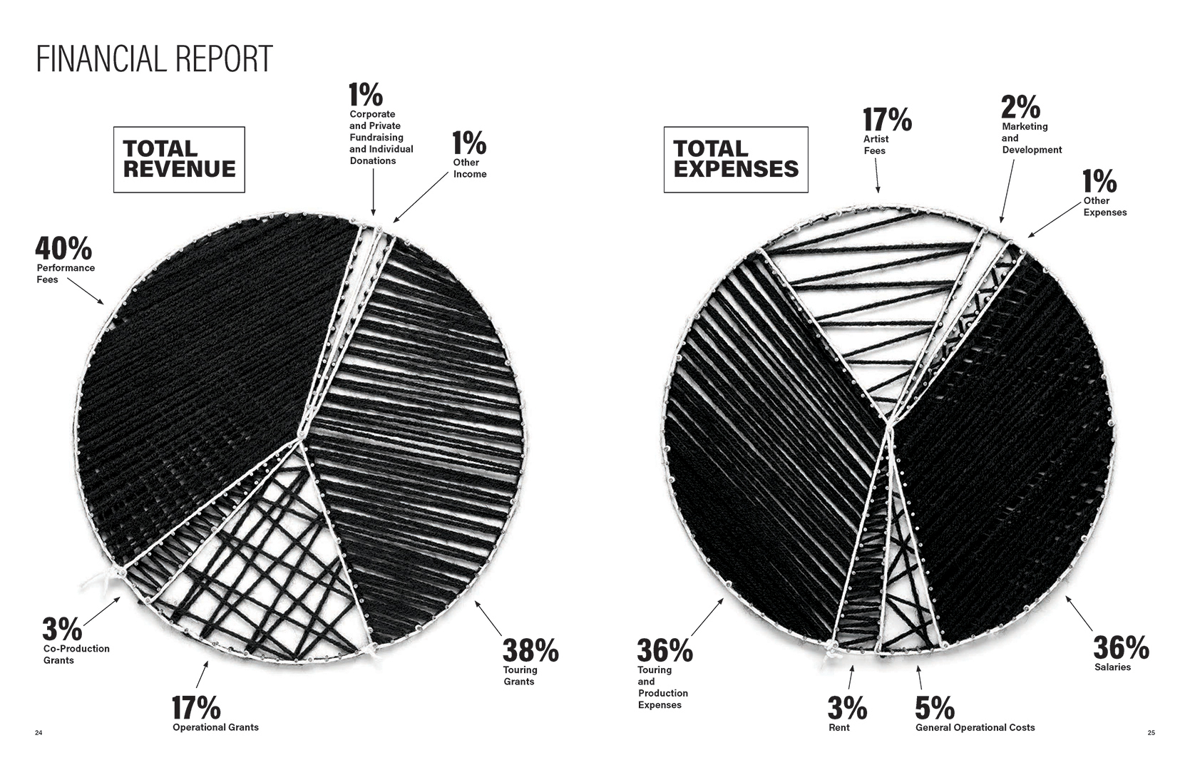 String art pie charts for a financial report for Mammalian Diving Reflex