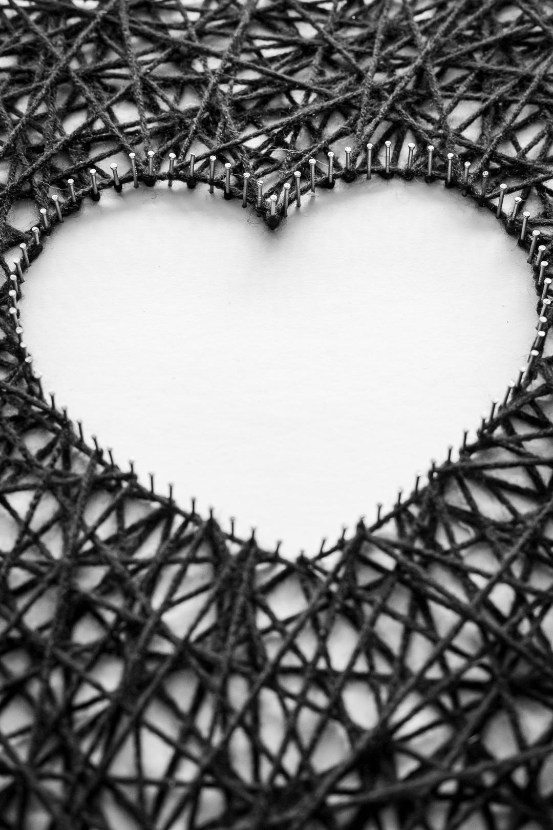 Close up image of string art heart shape