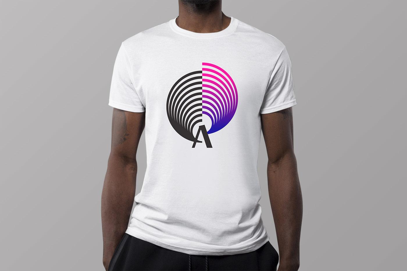 Man wearing white t-shirt with Amplified Opera logo