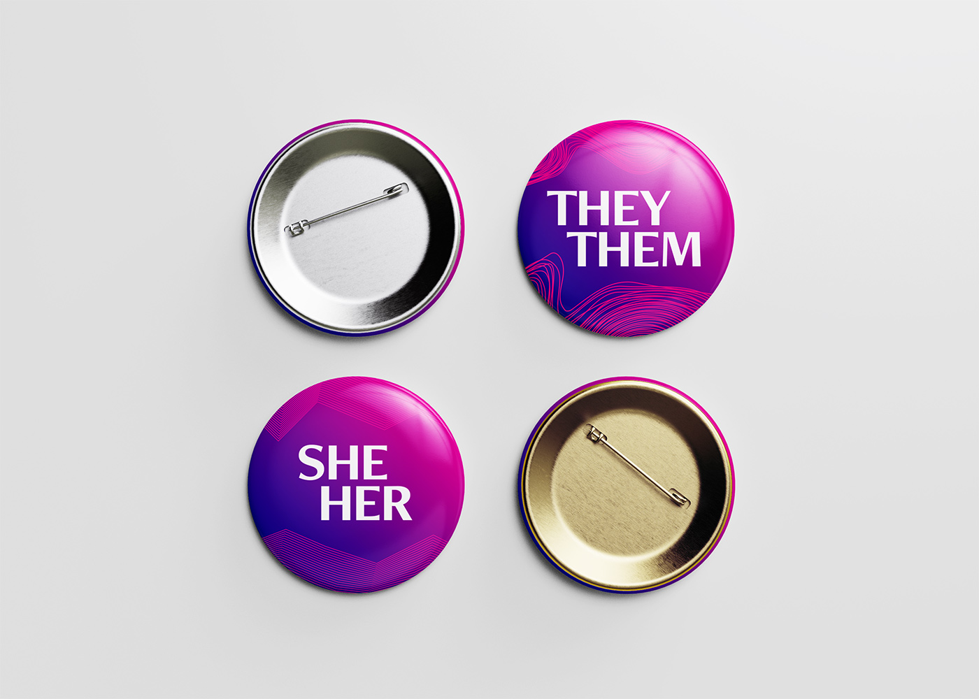 Image of the front and back of pins that say they/them and she/her