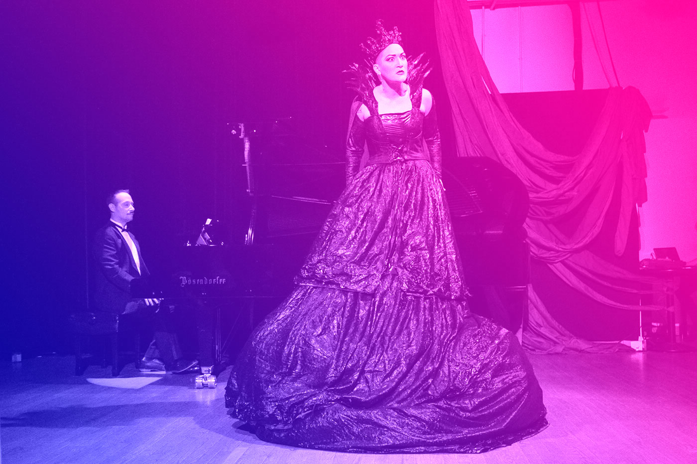 Image of opera singer and pianist with a blue/magenta gradient overlay